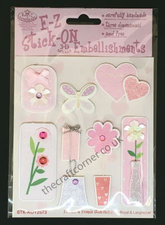 Flowers & Friends Glitter and Gem E-Z Stick-On Embellishments